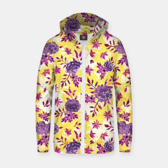 Thumbnail image of Romantic Vibrant Yellow Purple Floral Zip up hoodie, Live Heroes