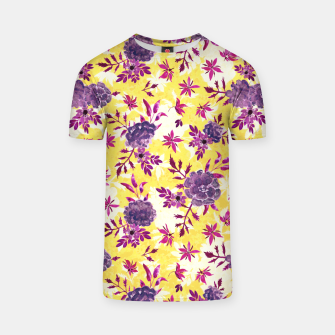 Thumbnail image of Romantic Vibrant Yellow Purple Floral T-shirt, Live Heroes