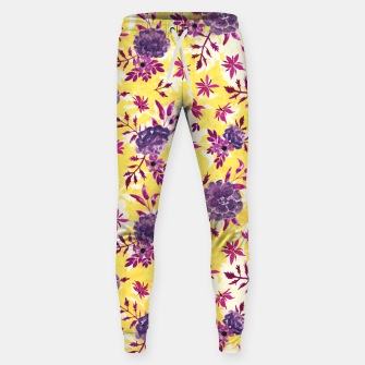 Thumbnail image of Romantic Vibrant Yellow Purple Floral Sweatpants, Live Heroes