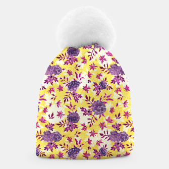 Thumbnail image of Romantic Vibrant Yellow Purple Floral Beanie, Live Heroes