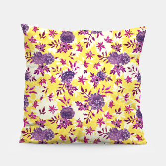Thumbnail image of Romantic Vibrant Yellow Purple Floral Pillow, Live Heroes