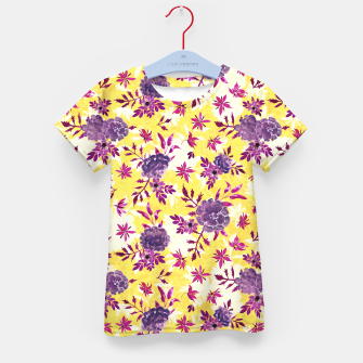 Thumbnail image of Romantic Vibrant Yellow Purple Floral Kid's t-shirt, Live Heroes