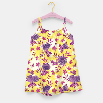 Thumbnail image of Romantic Vibrant Yellow Purple Floral Girl's dress, Live Heroes