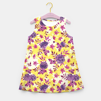 Thumbnail image of Romantic Vibrant Yellow Purple Floral Girl's summer dress, Live Heroes