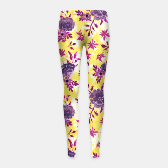 Thumbnail image of Romantic Vibrant Yellow Purple Floral Girl's leggings, Live Heroes