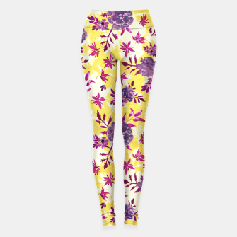 Thumbnail image of Romantic Vibrant Yellow Purple Floral Leggings, Live Heroes