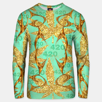Miniaturka 420 Golden Marijuana Leaves Teal CBDOilPrincess  Unisex sweater, Live Heroes