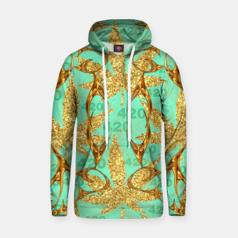 Miniaturka 420 Golden Marijuana Leaves Teal CBDOilPrincess  Hoodie, Live Heroes