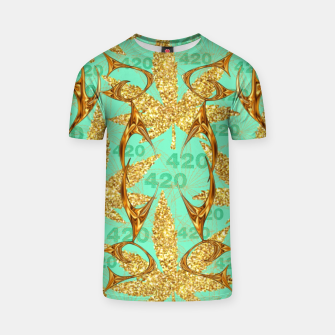 Miniaturka 420 Golden Marijuana Leaves Teal CBDOilPrincess  T-shirt, Live Heroes