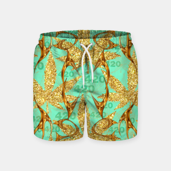 Miniaturka 420 Golden Marijuana Leaves Teal CBDOilPrincess  Swim Shorts, Live Heroes
