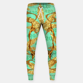 Miniaturka 420 Golden Marijuana Leaves Teal CBDOilPrincess  Sweatpants, Live Heroes