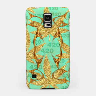 Miniaturka 420 Golden Marijuana Leaves Teal CBDOilPrincess  Samsung Case, Live Heroes