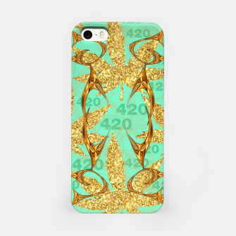 Miniaturka 420 Golden Marijuana Leaves Teal CBDOilPrincess  iPhone Case, Live Heroes