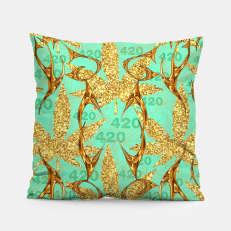 Miniaturka 420 Golden Marijuana Leaves Teal CBDOilPrincess  Pillow, Live Heroes