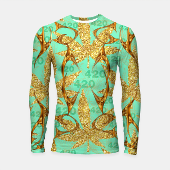 Thumbnail image of 420 Golden Marijuana Leaves Teal CBDOilPrincess  Longsleeve rashguard , Live Heroes