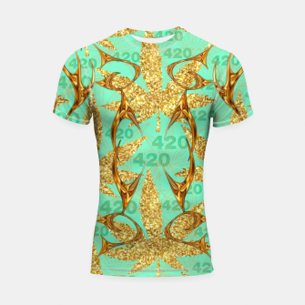 Miniaturka 420 Golden Marijuana Leaves Teal CBDOilPrincess  Shortsleeve rashguard, Live Heroes