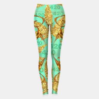 Miniaturka 420 Golden Marijuana Leaves Teal CBDOilPrincess  Leggings, Live Heroes