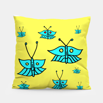 Thumbnail image of Light Blue Butterflies on Yellow Pillow, Live Heroes