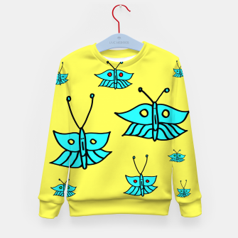 Thumbnail image of Light Blue Butterflies on Yellow Kid's sweater, Live Heroes