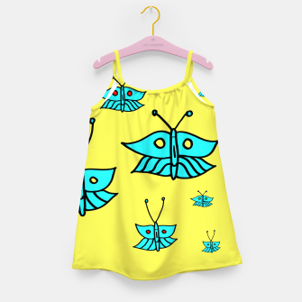 Thumbnail image of Light Blue Butterflies on Yellow Girl's dress, Live Heroes
