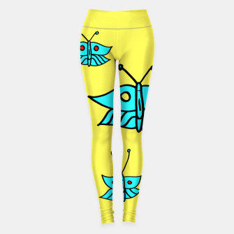 Thumbnail image of Light Blue Butterflies on Yellow Leggings, Live Heroes