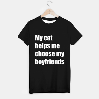 Thumbnail image of May cat helps me choose my boyfriend T-shirt regular, Live Heroes