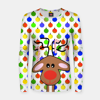 Thumbnail image of Festive Holiday Reindeer Women sweater, Live Heroes