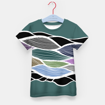 Miniatur Waving Harmonic Color Fields on Turquise Kid's t-shirt, Live Heroes