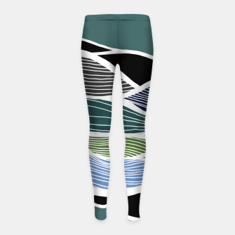Miniatur Waving Harmonic Color Fields on Turquise Girl's leggings, Live Heroes