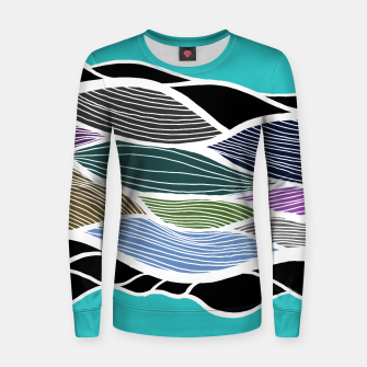 Thumbnail image of Waving Harmonic Color Fields on Light Turquise Women sweater, Live Heroes