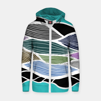 Thumbnail image of Waving Harmonic Color Fields on Light Turquise Zip up hoodie, Live Heroes