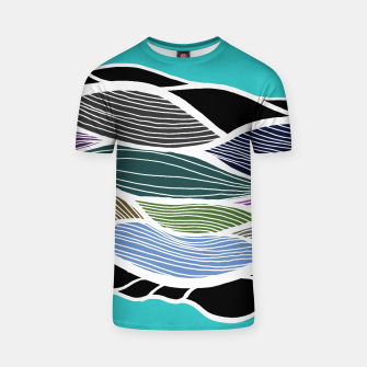 Miniatur Waving Harmonic Color Fields on Light Turquise T-shirt, Live Heroes