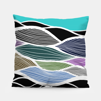 Thumbnail image of Waving Harmonic Color Fields on Light Turquise Pillow, Live Heroes