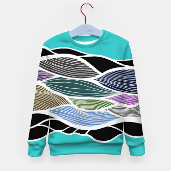 Thumbnail image of Waving Harmonic Color Fields on Light Turquise Kid's sweater, Live Heroes