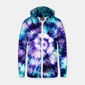 Thumbnail image of Blue and lilac tie dye spiral Sudadera con capucha y cremallera , Live Heroes