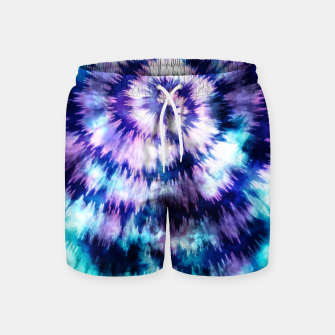 Thumbnail image of Blue and lilac tie dye spiral Pantalones de baño, Live Heroes