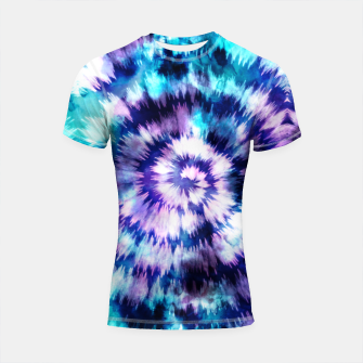 Thumbnail image of Blue and lilac tie dye spiral Shortsleeve rashguard, Live Heroes