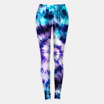 Thumbnail image of Blue and lilac tie dye spiral Leggings, Live Heroes