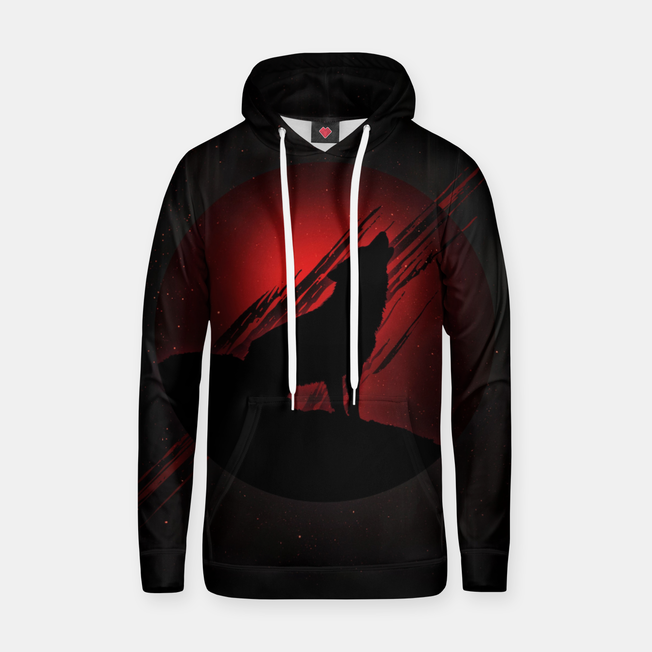 Image of Wolf with Blood Moon Kapuzenpullover - Live Heroes