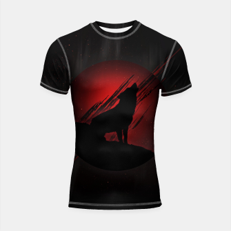 Miniature de image de Wolf with Blood Moon Shortsleeve rashguard, Live Heroes