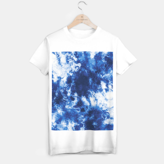 Indigo tie dye splatter Camiseta Regular miniature