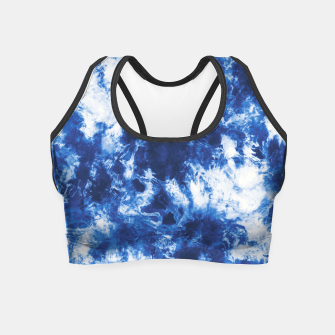 Indigo tie dye splatter Crop Top miniature