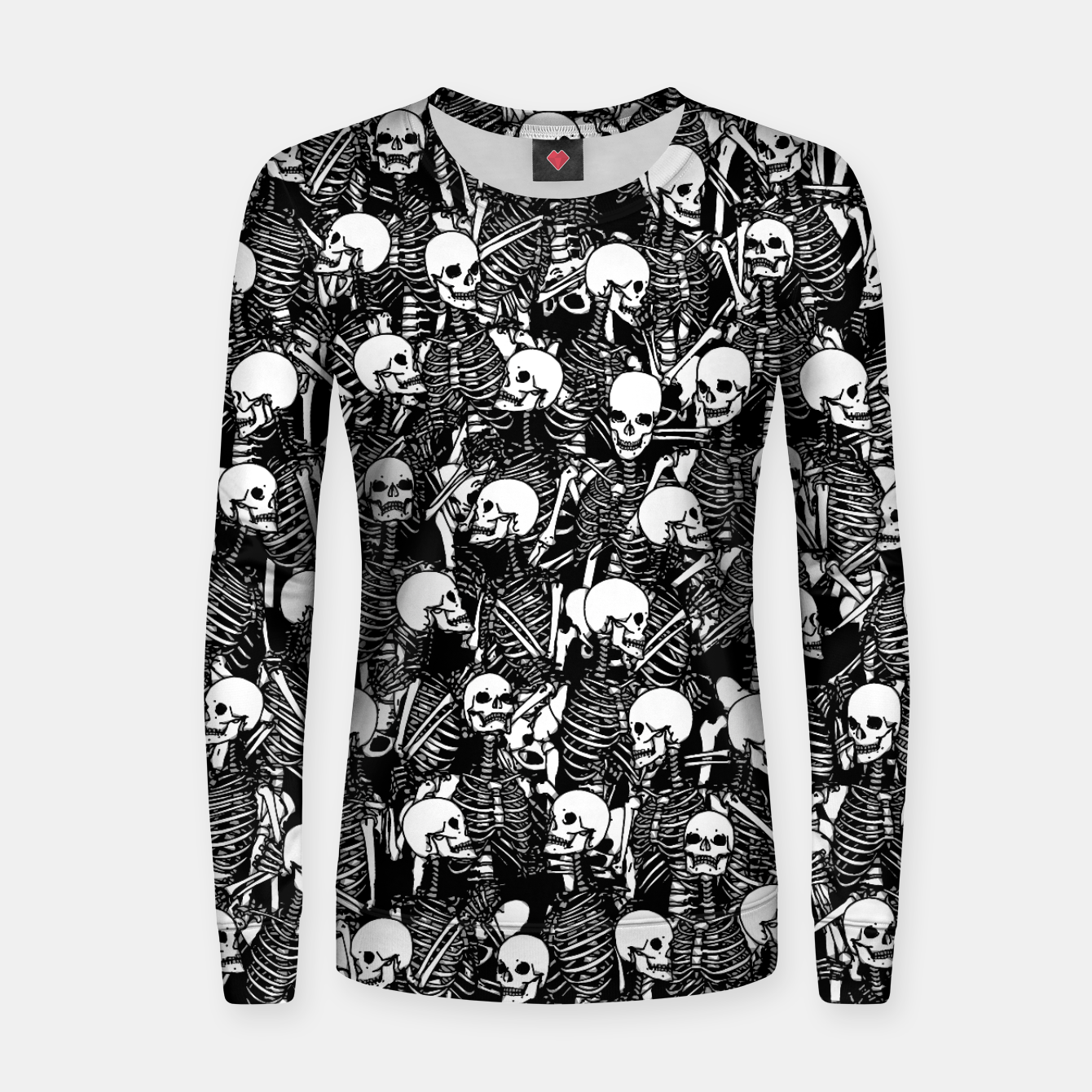 Foto Restless Audience Gothic Skeleton Halloween Horror Pattern Women sweater - Live Heroes