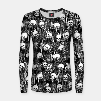 Thumbnail image of Restless Audience Gothic Skeleton Halloween Horror Pattern Women sweater, Live Heroes