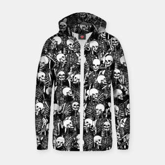 Miniatur Restless Audience Gothic Skeleton Halloween Horror Pattern Zip up hoodie, Live Heroes