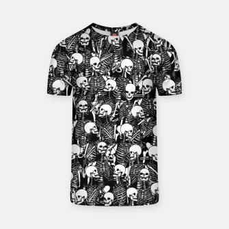 Miniatur Restless Audience Gothic Skeleton Halloween Horror Pattern T-shirt, Live Heroes