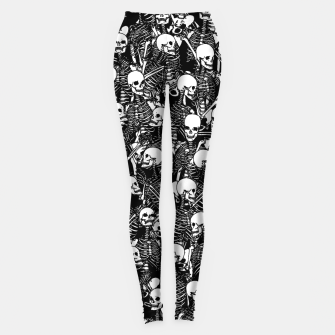Miniatur Restless Audience Gothic Skeleton Halloween Horror Pattern Leggings, Live Heroes