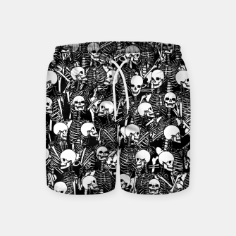 Thumbnail image of Restless Audience Gothic Skeleton Halloween Horror Pattern Swim Shorts, Live Heroes