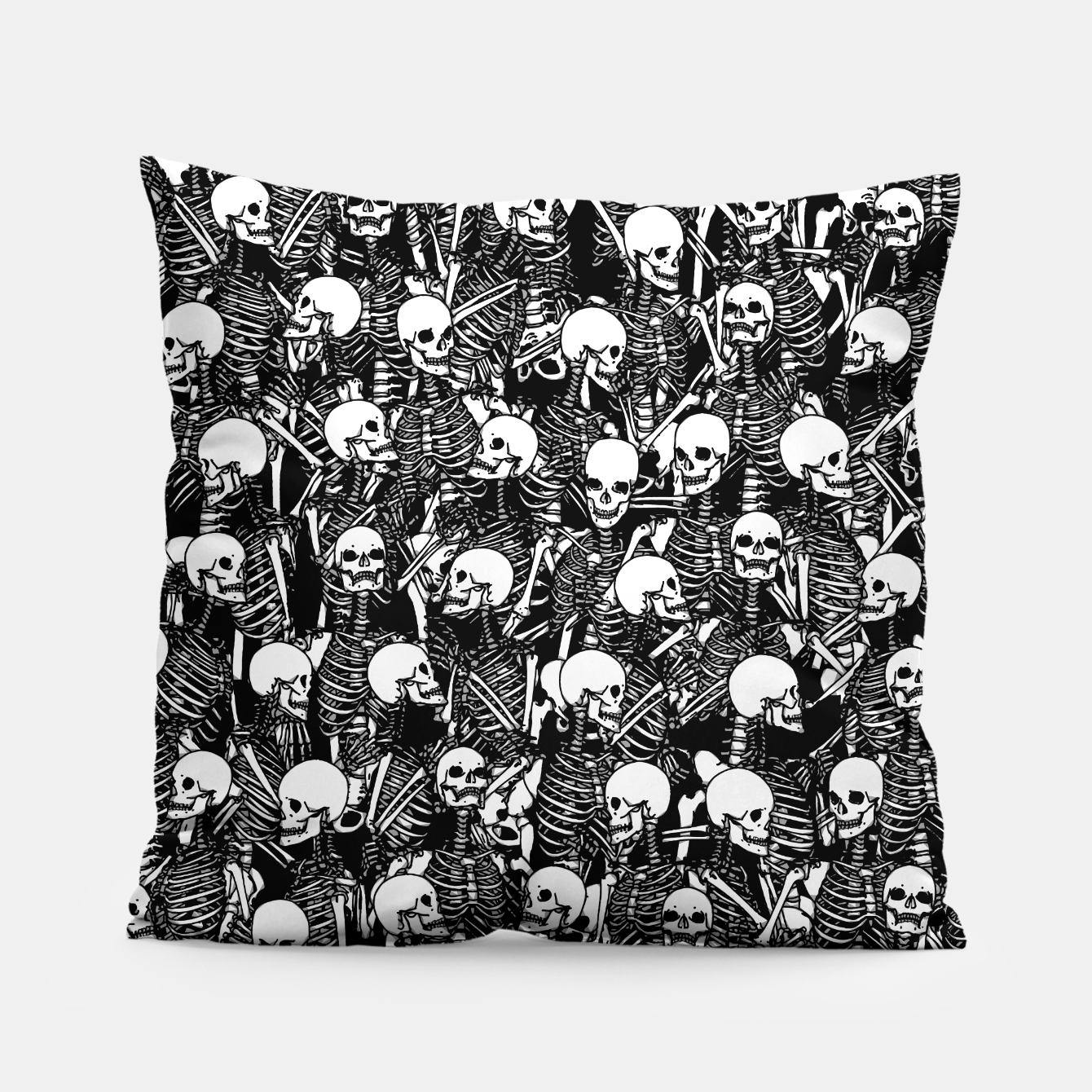 Foto Restless Audience Gothic Skeleton Halloween Horror Pattern Pillow - Live Heroes