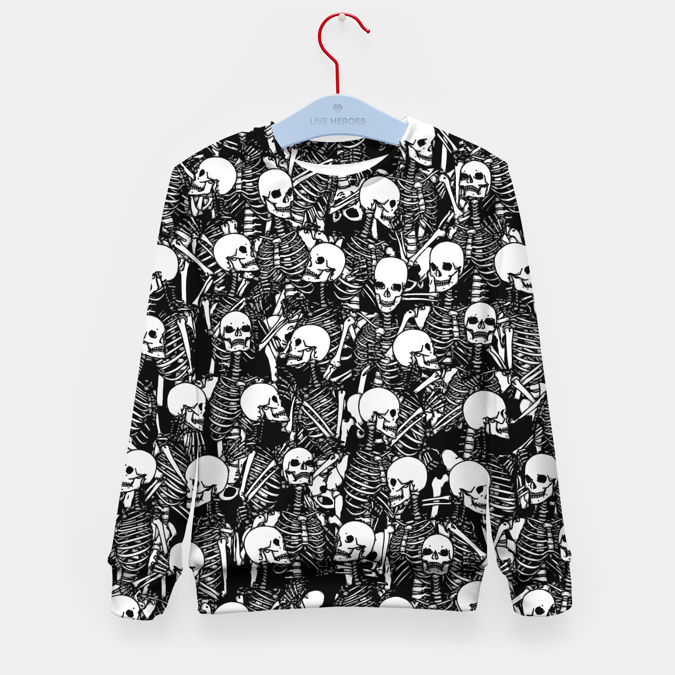 Image of Restless Audience Gothic Skeleton Halloween Horror Pattern Kid's sweater - Live Heroes